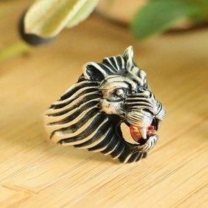 925SterlingSilver Lion Head Men'sRing cubic zircon